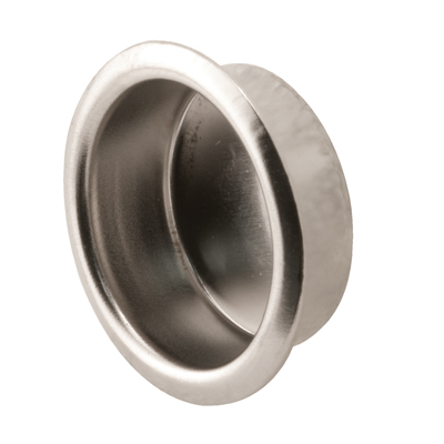 """Picture of A 149 - Round finger pull, 3/4"""" diameer, 5/16"""" deep, Nickel plated, stamped steel, 4 per pkg."""