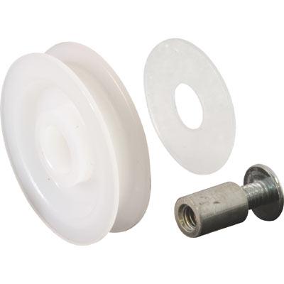 Picture of B 558 - Sliding screen door high density polyethlene roller,  Bolt, Threaded Bushing, high density polyethlene spacer, 2 per pkg.