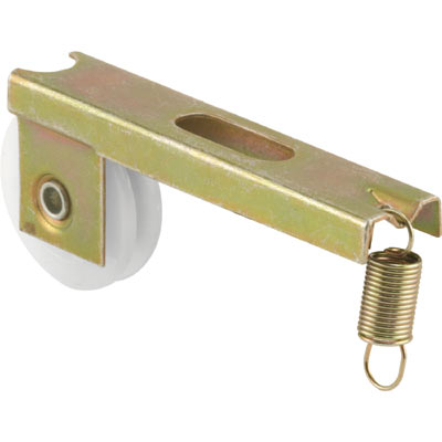 Picture of B 728 - Screen door roller assembly, high density polyethlene roller, steel bracket with coil spring, 2 per pkg.