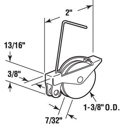Picture of B 821 - Sliding screen door roller, Arcadia style, 1-3/8 inch Steel BB roller, 2 per pkg.