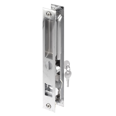 Picture of C 1075 - Patio Door Flush Handle with 3/8 inch latch hook, Chrome, Keyed,  1 per pkg.