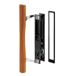 Picture of C 1130 - Patio Door Flush Handle with Wood Handle Pull & keeper, Black, 1 per pkg.