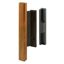 Picture of C 1173 - Patio Door Mortise Style Handle,  Bronze with Wood Pull, Diecast Outside, 1 per pkg.
