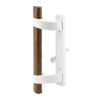 Picture of C 1219 - Patio door Mortise Handle, White Diecast with wood handle, Mortise Lock,  1 per pkg.