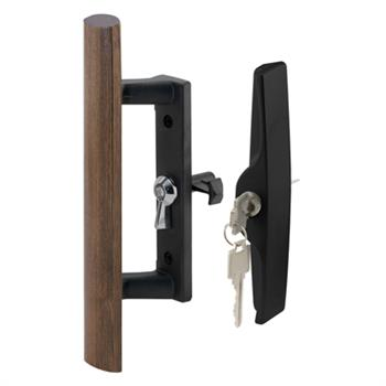 Picture of C 1241 - Patio Door Internal style door  handle, Black, Keyed, 3-1/2 inch hole centers, 1 per pkg.