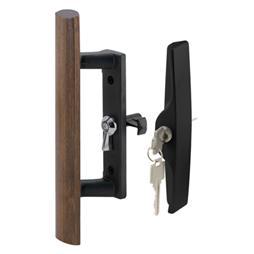 Picture of C 1241 - Patio Door Internal style door  handle, Black, Keyed, 3-1/2 inch hole centers, 1 per pkg.