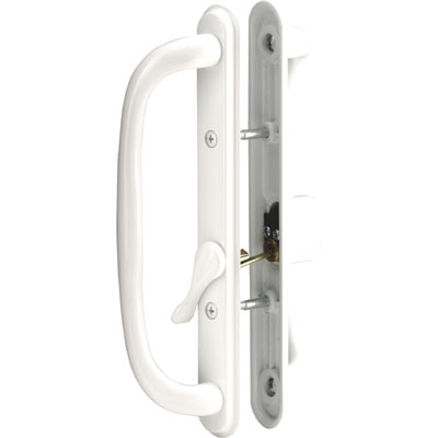 Picture of C 1289 - Patio door Mortise Style handle, White Diecast, Keyed, Offset thumbturn, 1 per pkg.