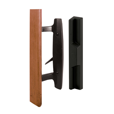 Picture of C 1313 - Patio door Mortise Style handle,  Black Diecast with wood handle, Outside Pull, 1 per pkg.