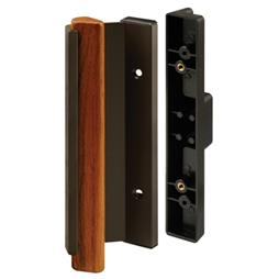 Picture of C 1334 - Patio Door Mortise Style Handle,  Black with Wood Pull, Diecast Outside, 1 per pkg.