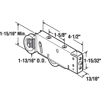 Picture of D 2007 - Tandem 1-13/16 inch Steel Roller, Plain Back, Stamped Steel Housing, 1 Pack