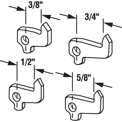 Picture of E 2108 - Patio Door Handle Latch Hook Set, Stamped Steel, Pack of 4
