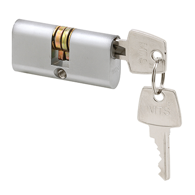 Picture of E 2140 - Duel Key Cylinder Lock, Brushed Chrome, 2-3/16 inch in length, Pack of 1