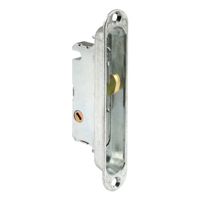 Picture of E 2189 - Mortise Lock with Adaptor Plate, 5-1/4 inch Mounting Holes, Steel, 45 Degree Keyway, Round Faceplate, Pack of 1