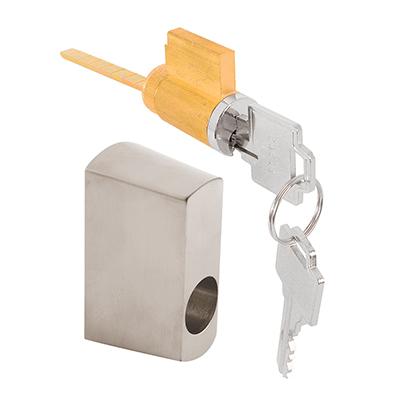 Picture of E 2195 - SLIDING DOOR KEY LOCK, W/HOUSING, OFFSET, SATIN NICKEL