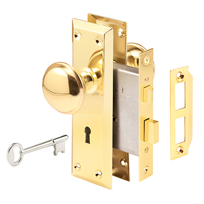 Picture of E 2293 - Victorian Style Keyed Mortise Entry Lock Set with Brass Finish Knobs