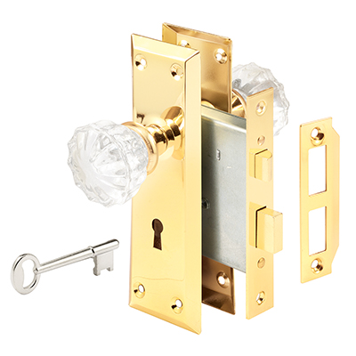 Picture of E 2311 - Victorian Style Keyed Mortise Entry Lock Set with Glass Knobs