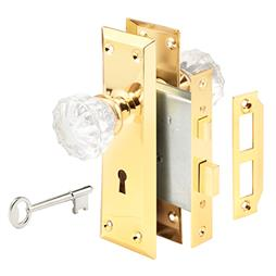 "Picture of E 2311 - Mortise Lock Set, 2-3/8"" Backset, Steel, Polished Brass"