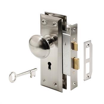 E 2330 Mortise Lock Set Keyed Satin Nickel
