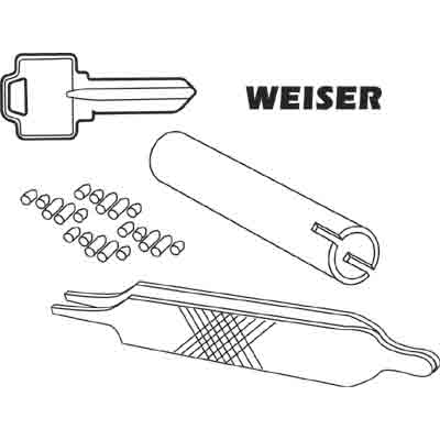 Picture of E 2404 - Weiser Re-Key A Lock Kit, 5-Pin Tumbler Sets w/Keys, Tools