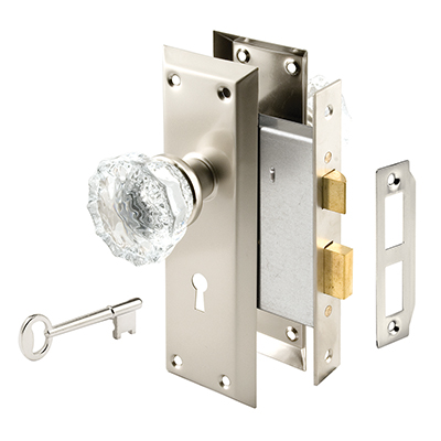 Picture of E 2496 - Satin Nickel Plated Glass Knob Mortise Lock Set