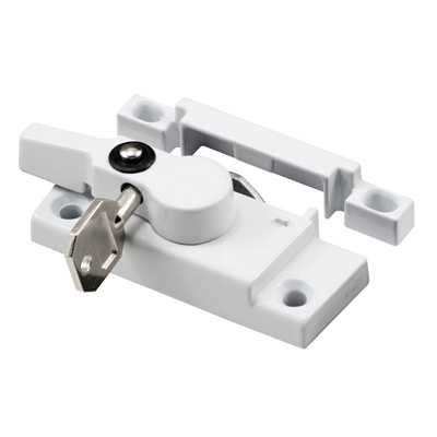 Picture of F 2624 - Keyed Sash Lock with keeper, 2-5/16 in. Hole Centers, Diecast, White, Pack of 1