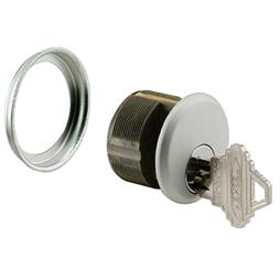 "Picture of J 4512 - Mortise Key Cylinder, 1"", Cast Zamac, Aluminum Finish"