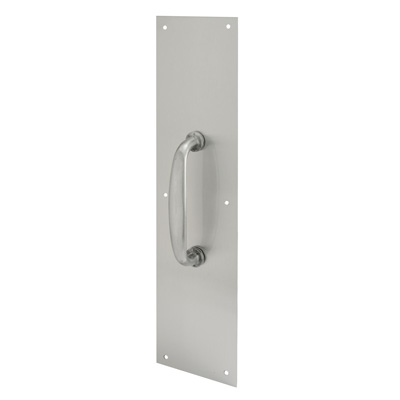 Picture of J 4579 - Door Pull Plate with Handle, Satin Aluminum, 4 X 16 inches, Pack of 1