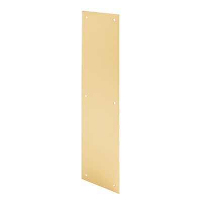 Picture of J 4580 - Door Push Plate, Polished Brass, 4 X 16 inches, Fasteners Included, Pack of 1