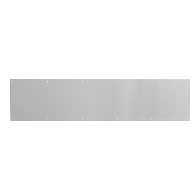 Picture of J 4616 - Kick Plate, Satin  Aluminum, 8 X 34 inches, Pre-Punched Mounting holes, Pack of 1