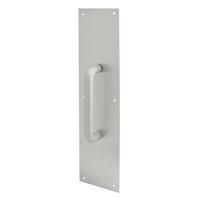 Picture of J 4640 - Door Pull Plate with Handle, Satin Aluminum, 4 X 16 inches, Pack of 1