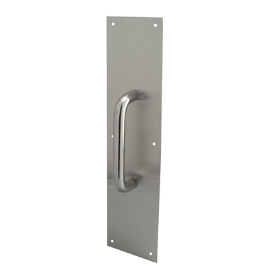 Picture of J 4643 - Door Pull Plate with Handle, Stainless Steel, 4 X 16 inches, Pack of 1