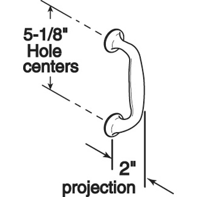 """Picture of J 4657 - PULL HANDLE, OVAL, SATIN ALUMINUM, 5-1/8"""" HOLE CENTERS"""