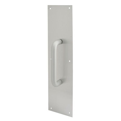 Picture of J 4715 - Door Pull Plate with Handle, Satin Aluminum, 3-1/2 in. X 15 in., Pack of 1