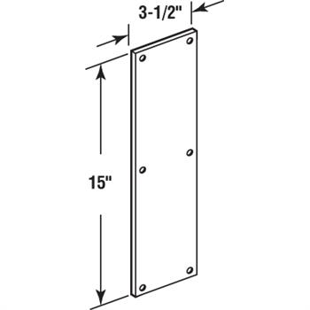 Picture of J 4718 - Door Push Plate, Aluminum, 3-1/2 X 15 inches, Fasteners Included, Pack of 1