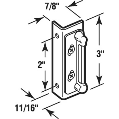 Picture of K 5013 - Double Screen Door Strike Plate, Spring Loaded, Aluminum, Pack fo 1