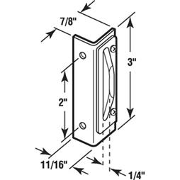 Picture of K 5016 - Double Screen Door Strike Plate, Rigid Face, Aluminum, Pack fo 1
