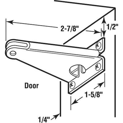Picture of K 5234 - Screen Door Closer Jamb  Bracket, White, Side Mount, Stamped Steel, Pack of 1