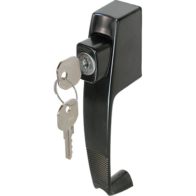 Picture of K 5090 - Push Button Screen or Storm Door Latch with Tie Down, Key Lock,  Black, Pack of 1