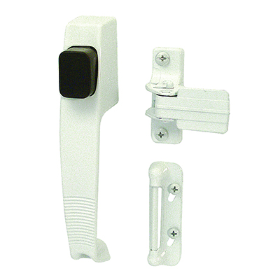 Picture of K 5116 - Push Button Screen or Storm Door Latch with Tie Down, White, Pack of 1