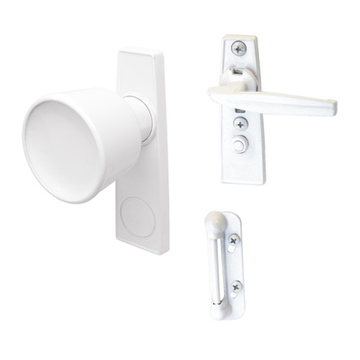 Picture of K 5121 - Tulip Knob Latch, 1-3/4 inch  Mounting Holes, White, Pack of 1