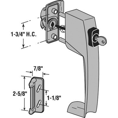 Picture of K 5138 - Push Button Screen or Storm Door Latch with Tie Down, Key Lock,  Aluminum, Pack of 1