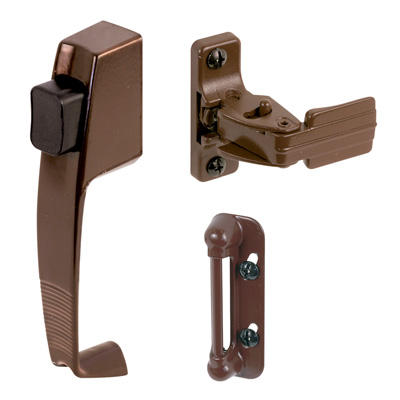 Picture of K 5171 - Push Button Screen or Storm Door Latch with Tie Down, Chocolate Brown, Pack of 1