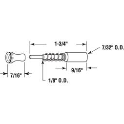 "Picture of PL 14849 - Window Screen Plunger Latches, 1-3/4"", Aluminum, Qty: 25"