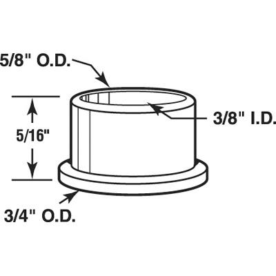 Picture of N 7082 - Bi-Fold Door Nylon Bottom Pivot Caps, Fits 3/8 inch rod, Slimfold, 25 Pack