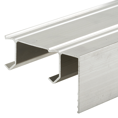 """Picture of N 6671 - Sliding Closet Door Track, Extruded Aluminum with Fascia, Two """"J"""" Channels"""