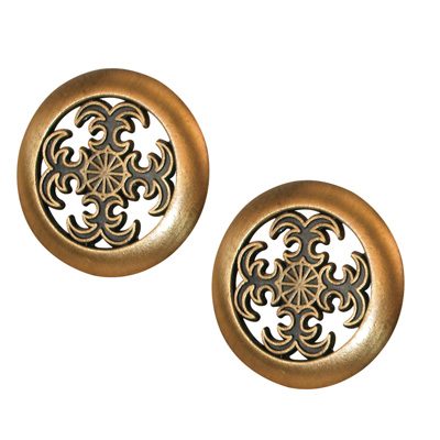 Picture of N 6757 - Bi-Fold Door Pull Knob, 1-1/2 inches diameter, Antique Brass Plated, 2 per package