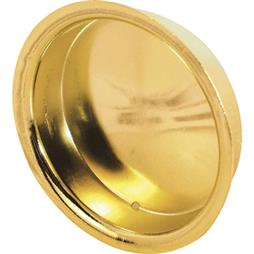 Picture of N 6765 - 1-3/4  inch inset sliding  closet door pull handle, brass plated, 2 per pkg.