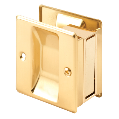 Picture of N 6770 - Pocket Door Privacy Lock  and Pull, Up to 1-3/4 inch thick door, Brass, 1 Pack
