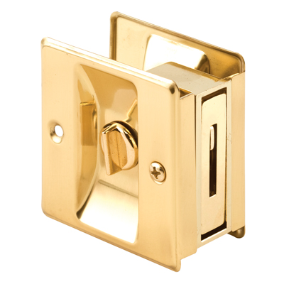 Picture of N 6771 - Pocket Door Privacy Lock  and Pull, Up to 1-3/4 inch thick door, Polished Brass