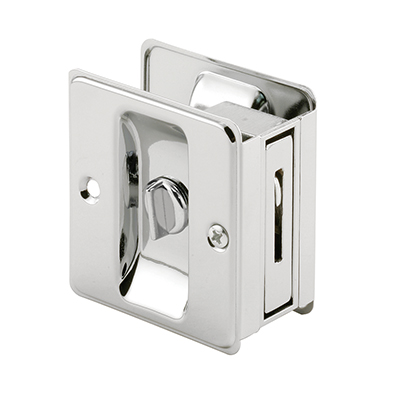 Picture of N 6773 - Pocket Door Privacy Lock  and Pull, Up to 1-3/4 inch thick door, Chrome, 1 Pack